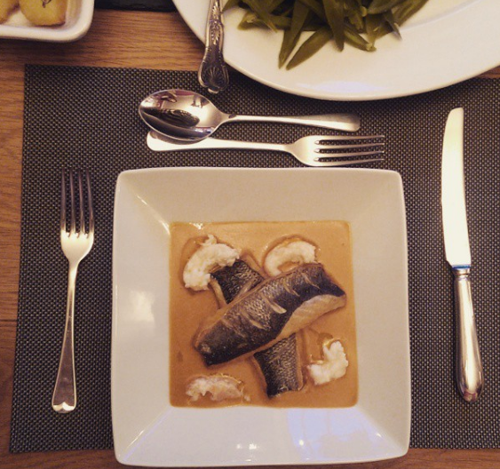 Sea Bass with Prawns in Bisque