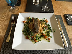 Sea Bass with Samphire and Salssa Verde.