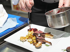 Chef Plating Lamb dish