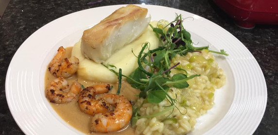 Baked Cod with Leek and Mushroom Risotto