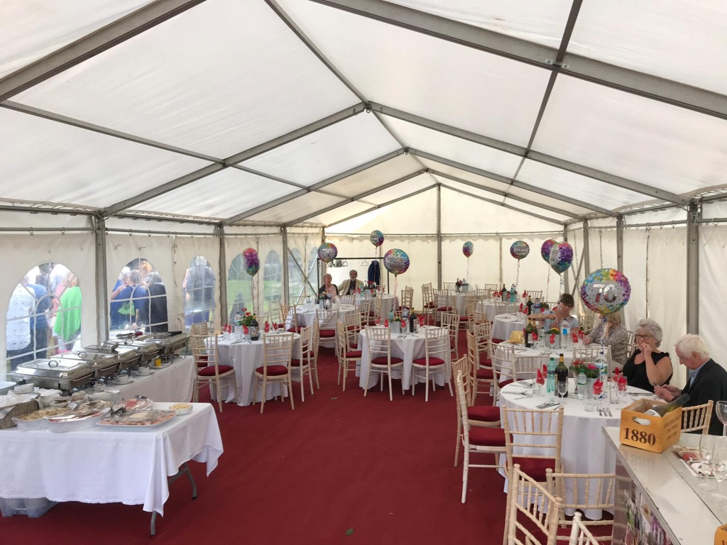 Marquee all set for a birthday lunch