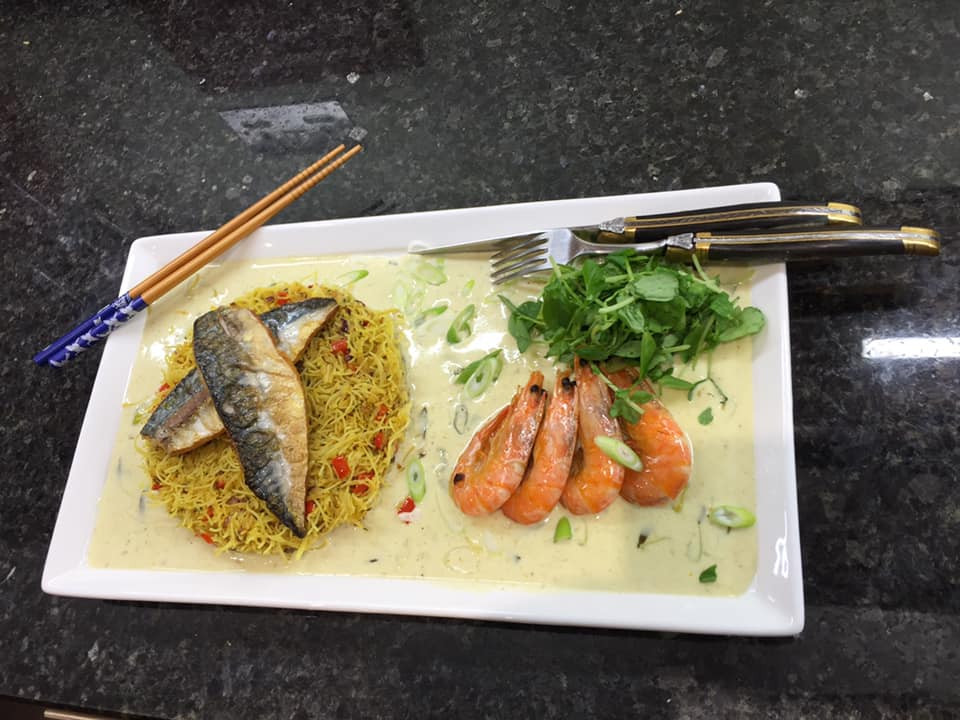 Mackerel and Singapore Noodles