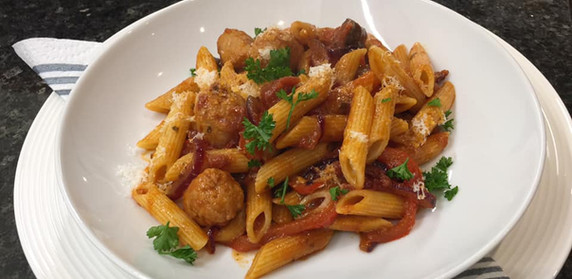 Penne with Bacon and Sausage Ragu