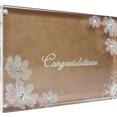 Acrylic Photo Frame in Flower Series Embedded with Crystals