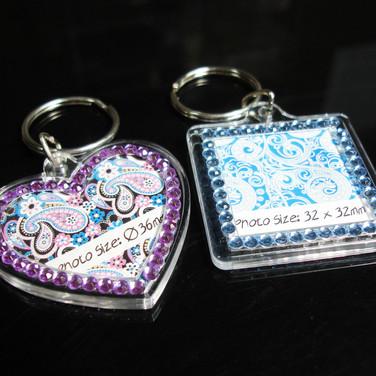 Blinking Keychain with Rhinestones