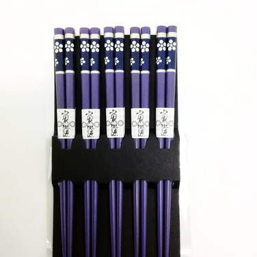 Japanese Chopsticks Set - Purple Flowers