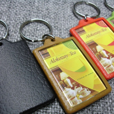 Leather Finish Plastic Keychain