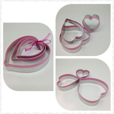 Stainless Steel Griped Pink Heart Cookie Cutter
