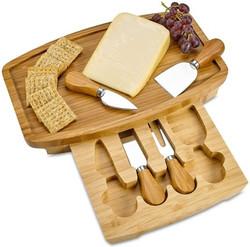 CK3017 bamboo cheese board w 4 knives