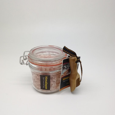 Himalayan Coarse Pink Salt in Canister with Wooden Spoon
