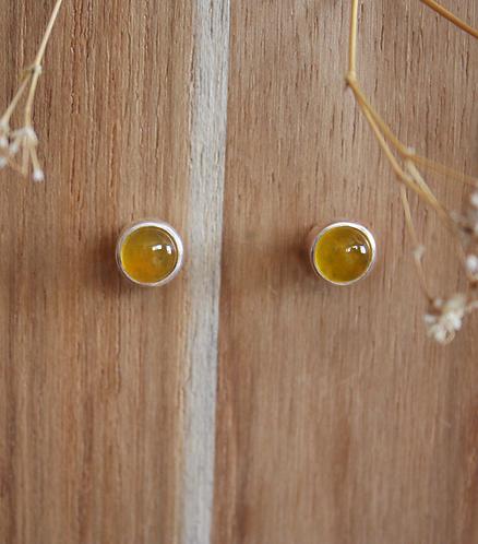 brincos pin solo - jade amarela