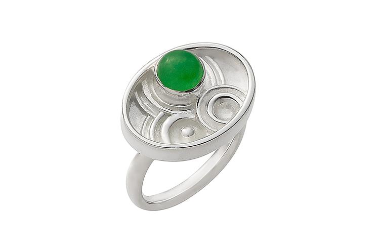 anel oval gema e lago - jade