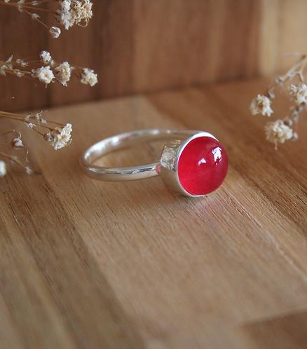 anel botão solo - dolomita vermelha