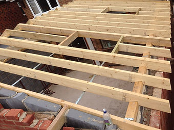 home extension builder burton on trent - roof going on