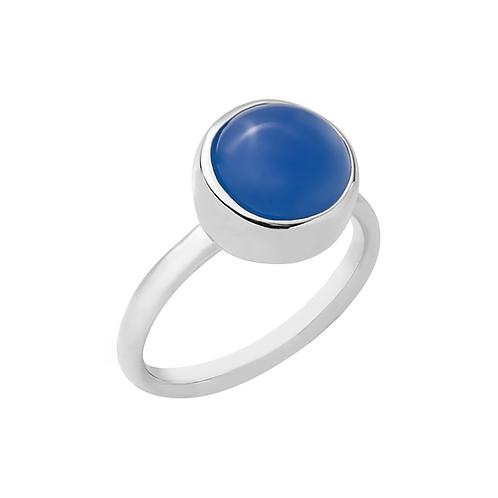 anel botão solo - ágata azul
