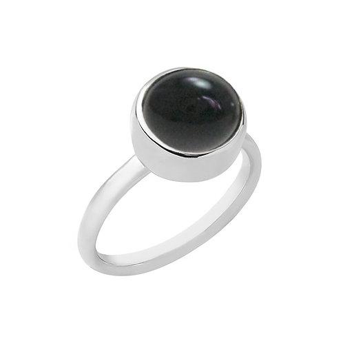 anel botão solo - ônix