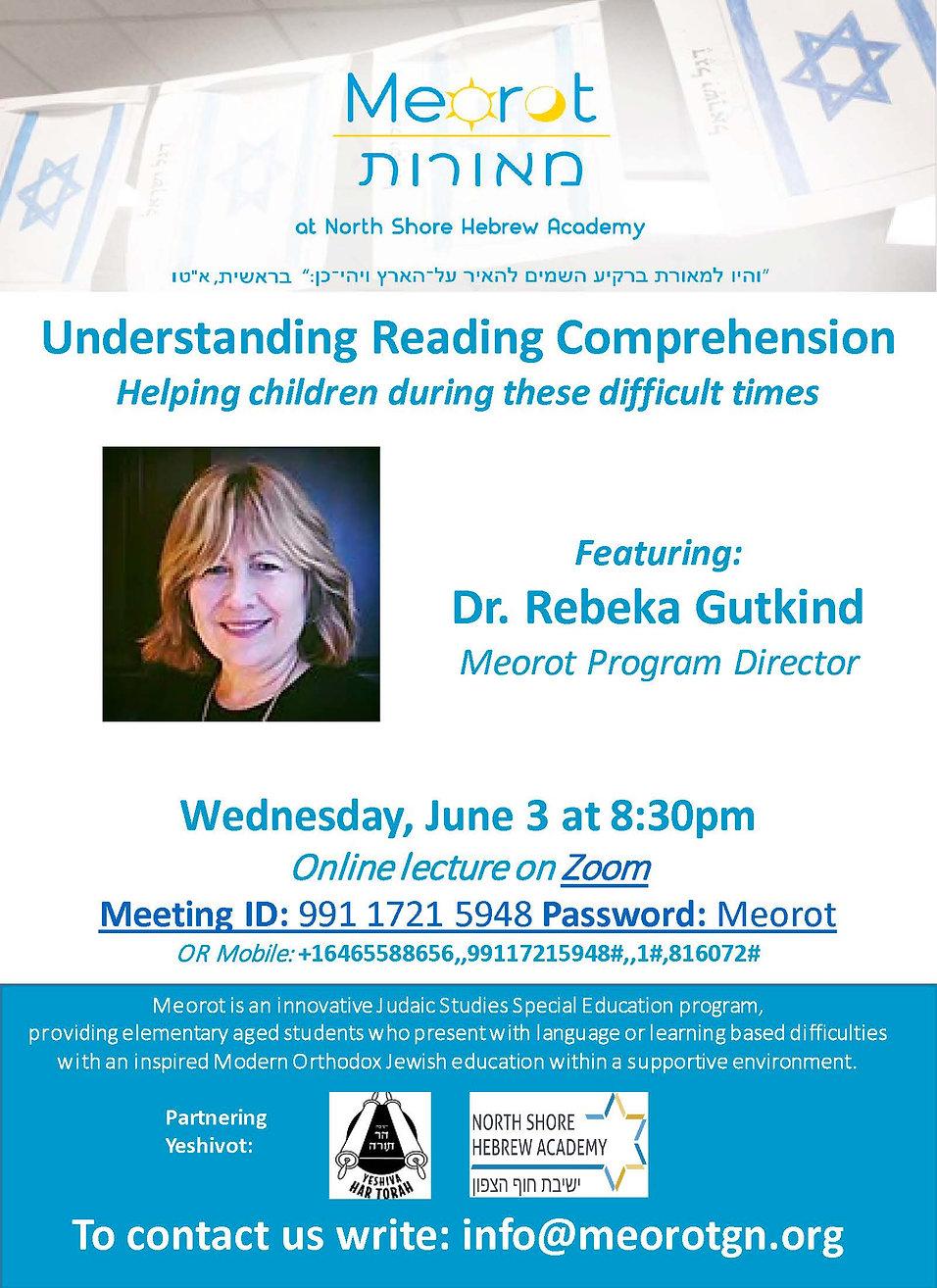 Meorot Lecture Series -- Dr Rebeka Gutki