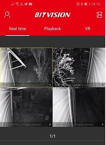 07. View of a Security Camera System using the mobile app that it was built with. Allows for selective camera views - photo - video - & even play back of individual cameras.