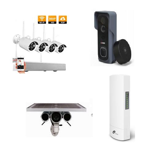 1 x Video doorbell, 1 x wireless bridge kit & 1 x Solar Panel +4 Security Camera