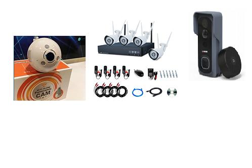 1 x Video doorbell, 1 x Lightbulb camera & 4 x 960P HD security camera kit
