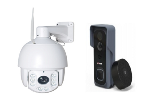 4G - Wi-Fi PTZ 1.3 MP Security Camera & Video doorbell