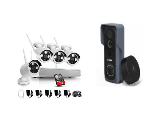 2 X Video door bell & 1 X 4 960P security camera kit deal