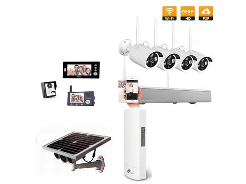 Video doorbell + 2 screens, 960P camera kit, Solar Panel camera & w/less bridge