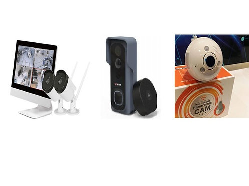 1 x Video doorbell, 1 x Lightbulb camera & 1 x Security camera & screen kit