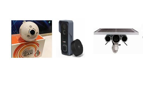 1 x Video doorbell, 1 x Lightbulb camera & 1 x Solar Panel Security Camera