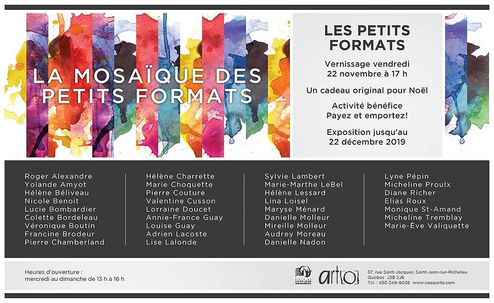 Invitation au vernissage de LA MOSAÏQUE DES PETITS FORMATS chez ART[O]