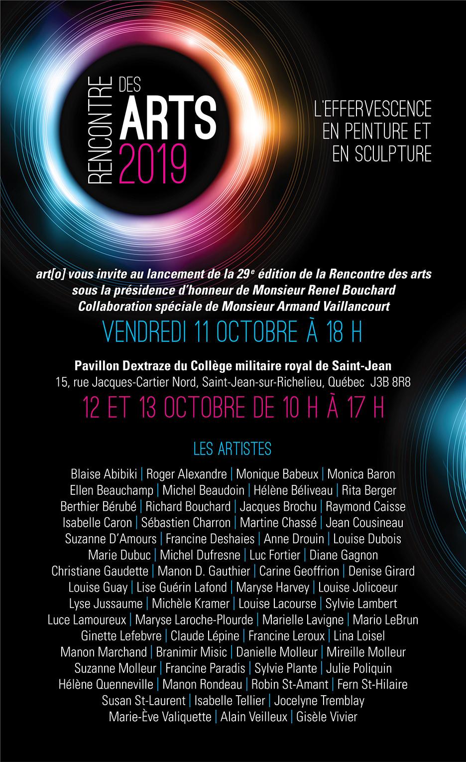 Je serai exposante à Rencontre des arts, au Pavillon Dextraze du Collège militaire royal de Saint-Jean, les 12 et 13 octobre de 10 h à 17 h.