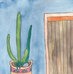 Cactus and blue wall 1, 2017