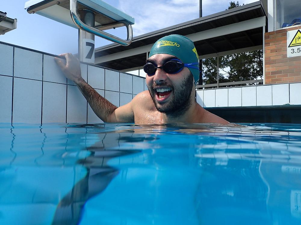 Adam Stern training with Elite Salt Academy swim technique specialist Kim Eulo Eulenstein