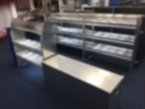 Aluminum shelving with LED lights