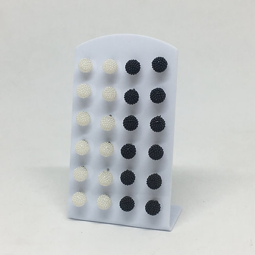 Aros x12 multiperla pequeño negro/blanco