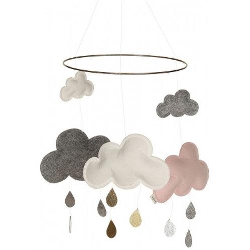 KONGES SLOJD - Mobile nuage blanc/gris/ rose