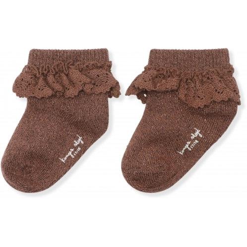 KONGES SLOJD - chaussettes en lurex avec dentelle mocca