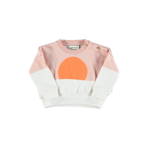 PIUPIUCHIK - Baby Unisex Sweatshirt Pale Pink Orange Sun Print