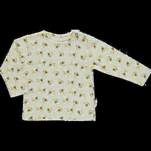 POUDRE ORGANIC - T-shirt Olive almond milk fleurs