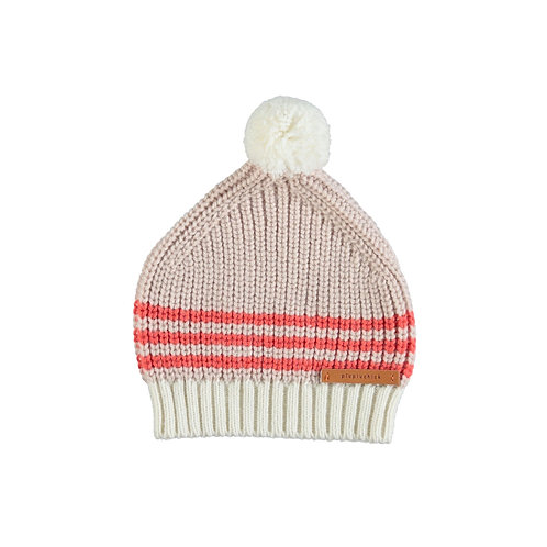PIUPIUCHIK - Bonnet tricoté avec pompom rose pâle rouge et écru