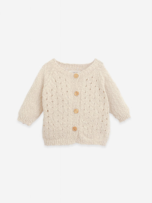 PLAY UP - Gilet/ Knitted cardigan with wooden buttons | Botany