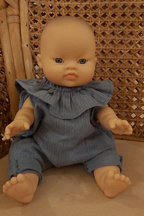 PAOLA REINA - Poupée asiatique fille combinaison bleu
