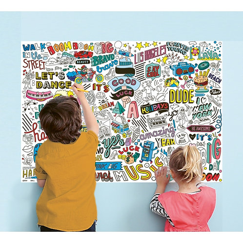 OMY - Poster géant à colorier + stickers - STREET ART