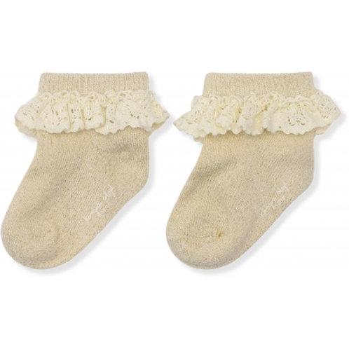 KONGES SLOJD - chaussettes en lurex avec dentelle crème