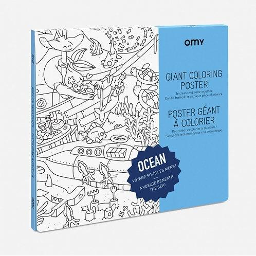 OMY - Poster géant à colorier - OCÉAN