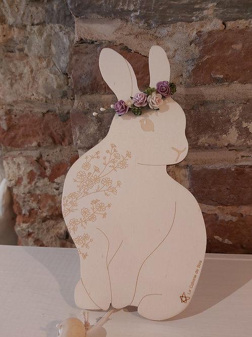 LA CABANE DE BOIS - Boîte à musique lapin et sa couronne de fleurs