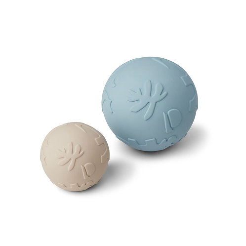 LIEWOOD - Balles silicone sable et bleu