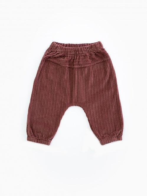PLAY UP - Pantalon en velours vieux rose foncé