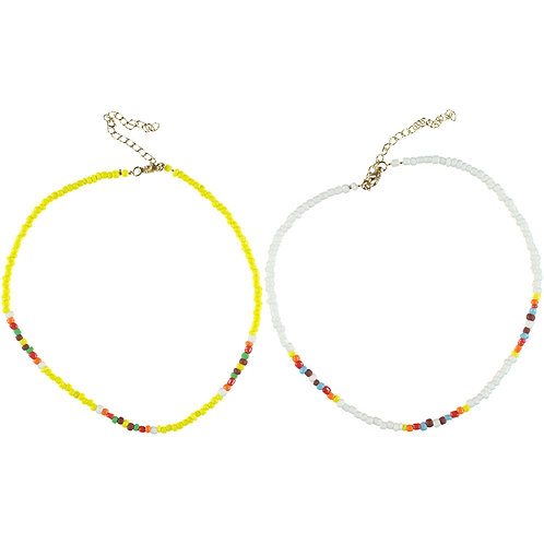 PIUPIUCHICK - Duo de collier de perles jaune et blanc