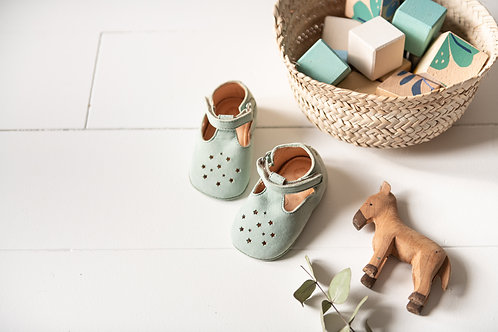 EASY PEASY - Chaussons en cuir Lillop menthe